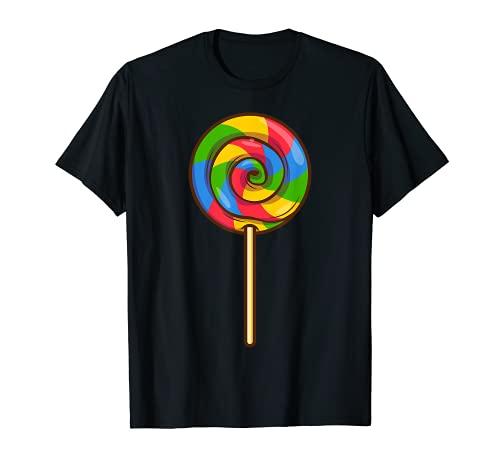 Lollipop Rainbow Sucker Candy Halloween Disfraz Lazy Gift Camiseta