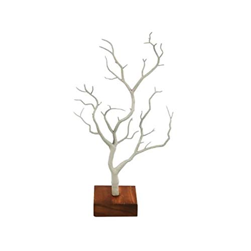KNDJSPR Jewelry Display Stand, Necklace/Bracelet Organizer Rack Walnut Stand Earrings Necklace Storage Creative branch display stand, White
