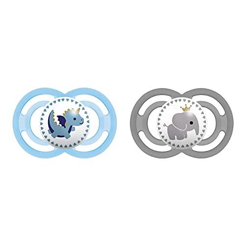 MAM Babyartikel 99953400 - Perfect, Ciuccio in silicone 6-16 mesi, privo di BPA, confezione doppia, modelli assortiti – Istruzioni in lingua straniera