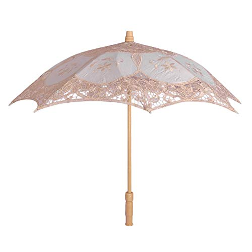 Klein Sonnenschirm Spitze, Holzgriff Brautschirm Damen Regenschirm Hochzeit Gesticktes Cotton Vintage Sonnenschirm Hochzeit