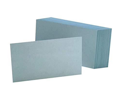 """Oxford Blank Color Index Cards, 3"""" x 5"""", Blue, 100 Per Pack (7320 BLU), 10 PACK"""