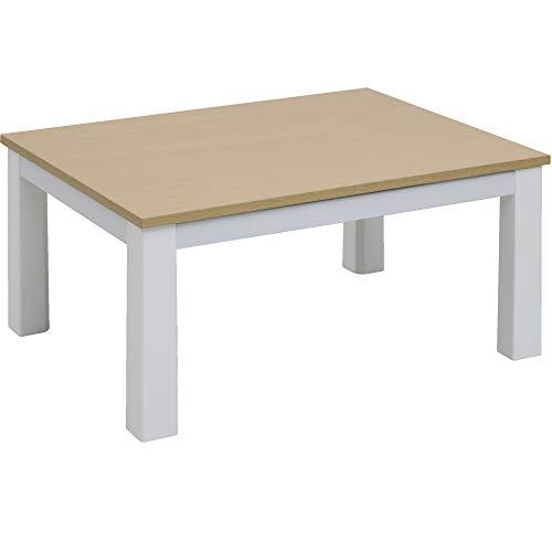 [山善] こたつ テーブル 長方形 80×60cm リバーシブル天板 中間入切スイッチ ホワイト×ナチュラル EYC-8060(WH/NA) [メーカー保証1年]