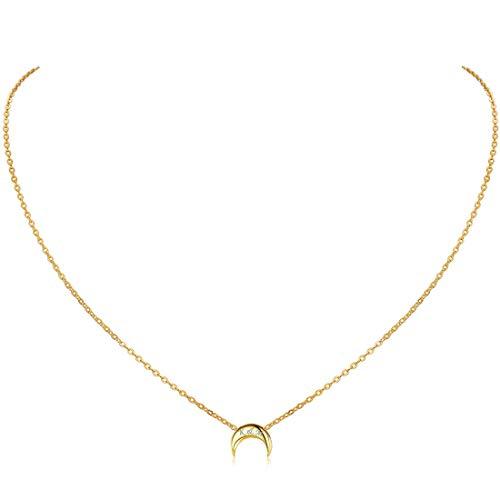 ChicSilver Luna/Corazón/Estrella/Redondo Collar Delgada de Clavícula para Mujeres y Muchachas Plata de Ley 925 Chapado en Platino/Oro/Oro Rosa Joyería Simple y Elegante Regalo Romántico para Novias