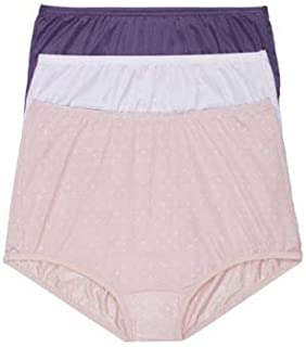 Vanity Fair Classic Ravissant Full Brief 3-Pack, 10/3XL, Purple/White/Pink