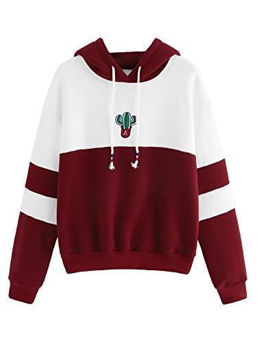 SweatyRocks Womens Long Sleeve Colorblock Pullover Fleece Hoodie Sweatshirt Tops White Burgundy Large