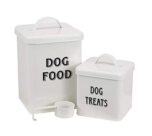 Pethiy - Set di contenitori (2 pz) per Alimenti e Spuntini per Animali Domestici, in Acciaio al Carbonio Rivestito, Contenitore per Cibo per Cani, con Paletta e Coperchio-Bianco