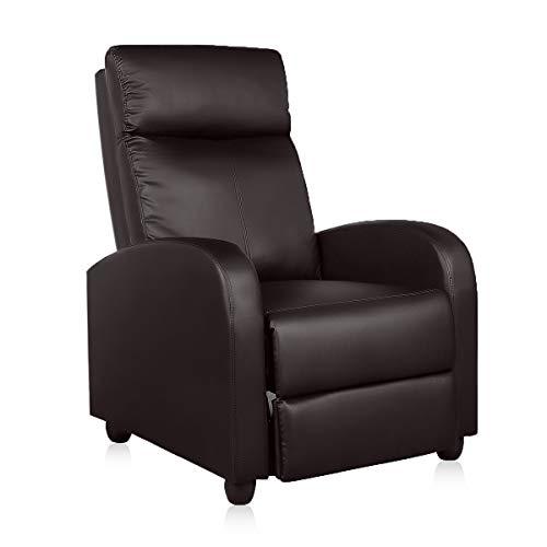 YAMASORO - Sillón reclinable de piel sintética con asiento individual acolchado para sofá o salón, sala de estar y teatro con funciones reclinables, moderno sillón reclinable tapizado (marrón)