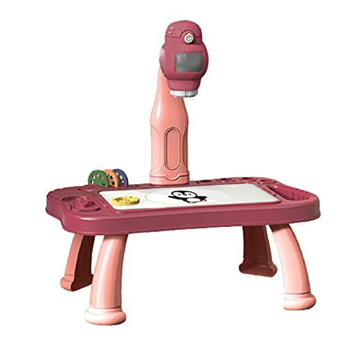 LIDABAO Escritorio infantil con proyector, juguete educativo con 48 patrones, tabla de pintura extraíble para niños