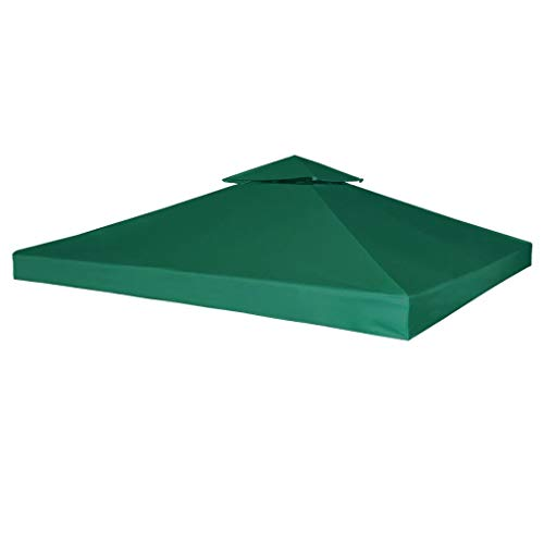 mewmewcat Gazebo Cover Canopy Replacement Water-proof Top with Hook and Loop fasteners 310 g/m² 3M x 3M Green PVC Coating (cover only)