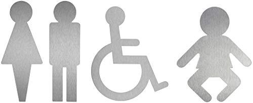 Edelstahl Piktogramme Serie Contour | WC-Damen WC-Herren Rollstuhl Wickelraum | 4er-Set Original Toilettenpiktogramme aus der Ofform Edelstahlschilder-Kollektion | Nr.1118