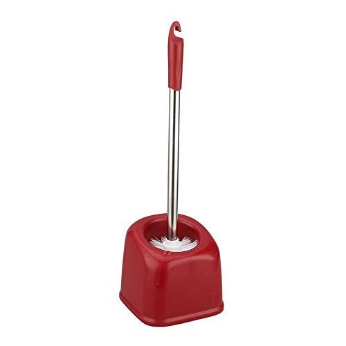 BGROESTWB Tazón Cepillo Cepillo de Dientes y Diseño Soporte Modernos ya Cepillo y lo Suficientemente Cuarto de baño WC WC Cepillo Y Holder Baño de Limpieza (Color : Red)