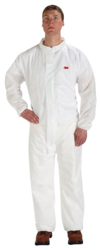 3M Disposable Protective Coverall Safety Work Wear 4520CS-BLK, Polypropylene, 2X-Large, White