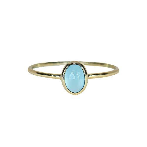 Pura Vida Gold Oval Chalcedony Ring Size 5 - Gold Plated .925 Sterling Silver Ring