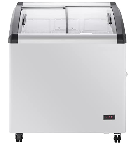 DUURA DDFC8 Commercial Mobile Ice Cream Display Chest Freezer Sub Zero Temp Curved Glass Top Frost Free Lid with 3 Wire Baskets, 31.5 Inch Wide 8.1 Cubic Feet, White