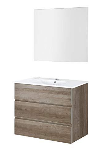 Baikal 830134034 Conjunto de Muebles de Baño con Lavabo y Espejo Luna Lisa, Suspendido a la Pared, Tres Cajones, Acabado en Roble Gris Nebraska, 90 X 76 X 46 cm