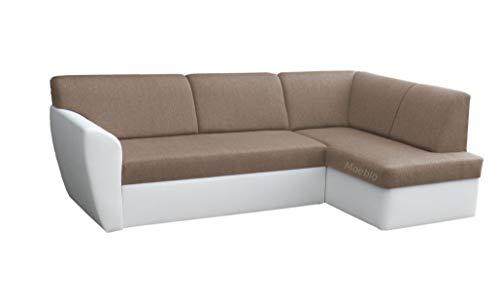 Moeblo Ecksofa Sofa Eckcouch Couch mit Schlaffunktion und Bettkasten Ottomane L-Form Schlafsofa Polstergarnitur Margo (Beige+ Weiß, Ecksofa Rechts)