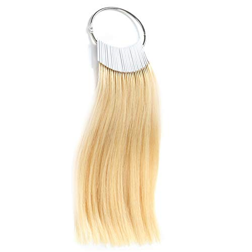 RINBOOOL 100% Remy Human Hair Color Rings Swatches Testing Color Samples 8 Inch Hair Color Chart 30pcs/Package (8'', Light Blonde)