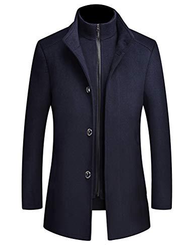 Mallimoda Homme Manteau Casual Trench Laine Classique Chic Mi-Longue Duffle-Coats Épais Parka Bleu foncé XXL