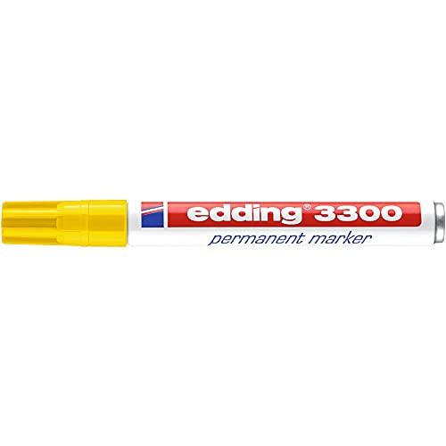 edding 3300 Permanentmarker - gelb - 1 Stift - Keil-Spitze 1-5 mm - schnell trocknender Permanent Marker - wasserfest, wischfest - für Karton, Kunststoff, Holz, Metall - Universalmarker