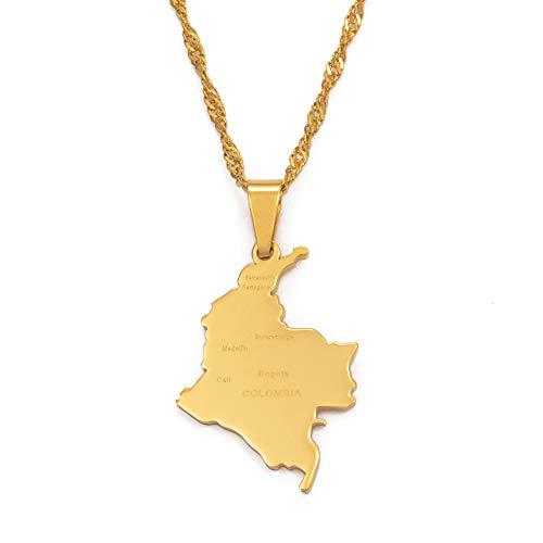 Kolumbien Anhänger Und Wasser Welle Kette Für Frauen Mädchen Edelstahl Land Karte Schmuck Kolumbien