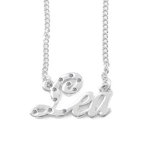 KL Lea Namenskette 18 Karat Weißgold Plattiert Personalisiert Damen Halskette Mit Namen Fashion Schmuck Geschenk Fur Freundin Mutter Schwester
