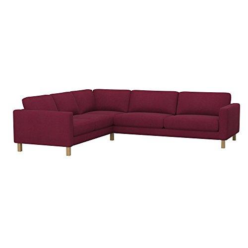 Soferia Ersatzbezug fur IKEA KARLSTAD 3+2 / 2+3 Ecksofa, Stoff Eco Leather Burgund, Rot