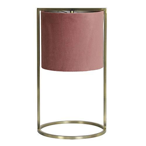 Light and Living Tischlampe 'Santos' Rosa Gold - moderne Tischleuchte mit Stoffschirm und goldenem Metallfuß Lampe Nachttischlampe Retro Design 45 cm