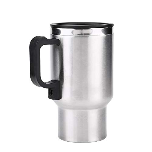 Car Heated Electric Mug,12V Stainless Steel Electric Kettle, 450ml Car Heated Travel Heating Mug With Indicator Light,Vacuum Insulated Travel Electric Kettle For Most Car Cup Holders