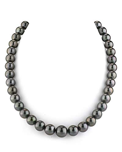 """THE PEARL SOURCE 14K Gold 9-11mm Round Genuine Black Tahitian South Sea Cultured Pearl Necklace in 18"""" Princess Length for Women"""
