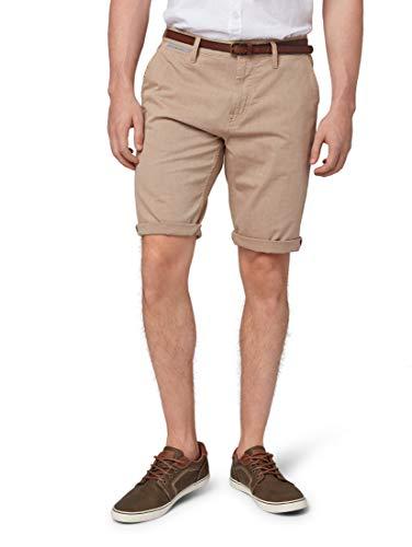 TOM TAILOR Herren Chino Shorts, Beige (Yarn Dye Beige 14023), W(Herstellergröße: 34)
