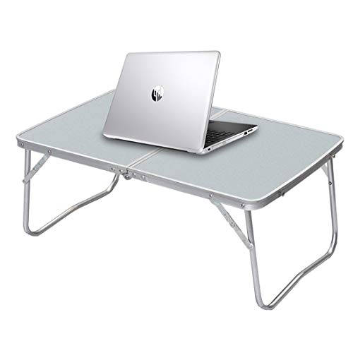 Foldable Laptop Table Lapdesk, Breakfast Bed Serving Tray, Portable Mini Picnic Desk, Notebook Stand Reading Holder for Couch Floor, Folding in Half w' Inner Storage Space, Aluminum Alloy Leg, Silver