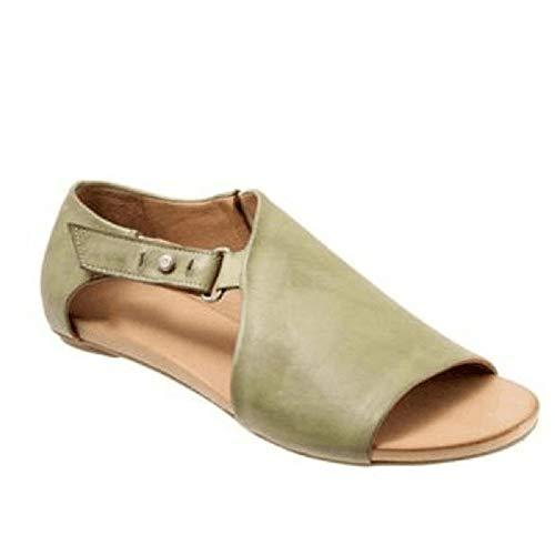 Ao Tuo platte sandalen voor vrouwen peep teen pu leer naakt schoenen casual slip op loafer zomer lage hakken uitgesneden strappy correctie sandaal open kant enkellaarzen