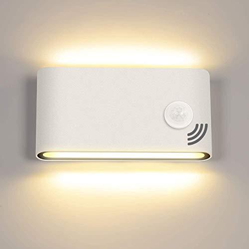 12W Lámpara de Pared LED con Sensor de Movimiento, Aplique de Pared para interior y exterior, Blanco cálido 3000K, Luz de Muro de aluminio IP65 impermeable