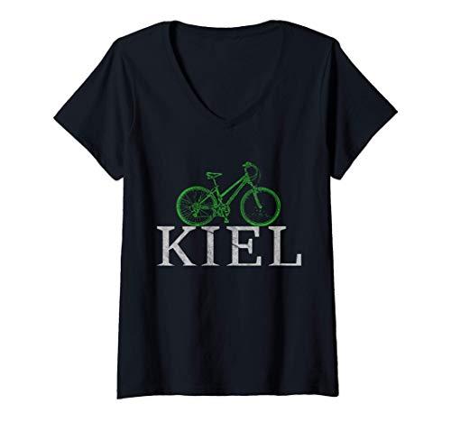 Damen Grüne Mobilität - Nachhaltig mit dem Fahrrad in Kiel T-Shirt mit V-Ausschnitt