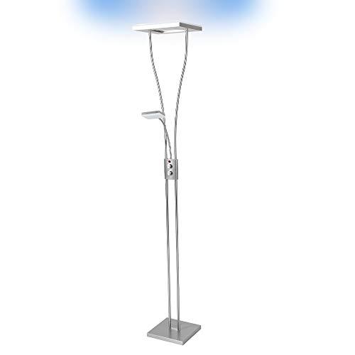 LHG Deckenfluter LED mit RGB Farbwechsel | Stehleuchte inkl. Fernbedienung | Stehlampe + Leselampe | Fluter mit 1x LED-Board 4W 350lm 3000K | Leuchte dimmbar | inkl.1x Gratis LED-Taschenlampe