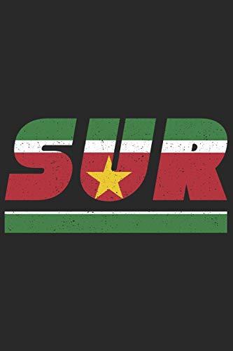 SUR: Suriname Notizbuch mit karo 120 Seiten in weiß. Notizheft mit der surinamischen Flagge