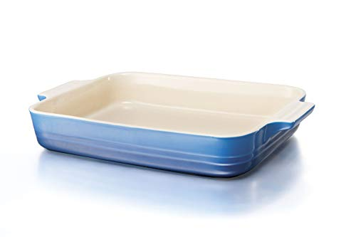 Le Creuset Rechteckige Auflaufform, 24 x 32 cm, Für 6 Portionen, Steinzeug, Blau