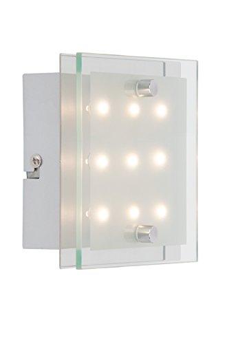 Brilliant G94146/15 Applique/plafonnier-chrome/blanc-transparent-metal/verre-LED, 0.8 W