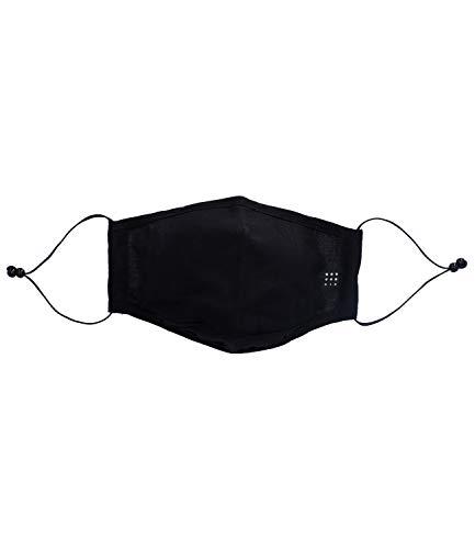 SIX Schwarze Gesichtsmaske aus Baumwolle mit schlichter Optik wiederverwendbar waschbar Mund Nasen Maske Behelfsmaske unisex (623-011)
