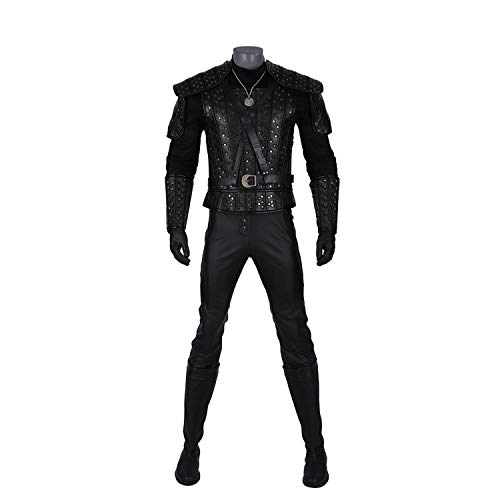 QWEASZER Juego de Anime Geralt Disfraz Hombres Negro Battlegear Conjunto Completo Disfraz de Batalla Película de Halloween Cosplay Disfraces Accesorios de Fiesta,Geralt-S