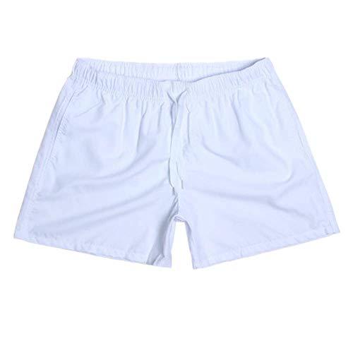 N\P Pantalones cortos casuales de secado rápido para hombre, pantalones cortos de playa, pantalones cortos de verano para hombre con bolsillos, ejercicios de fitness con cordones - blanco - Medium