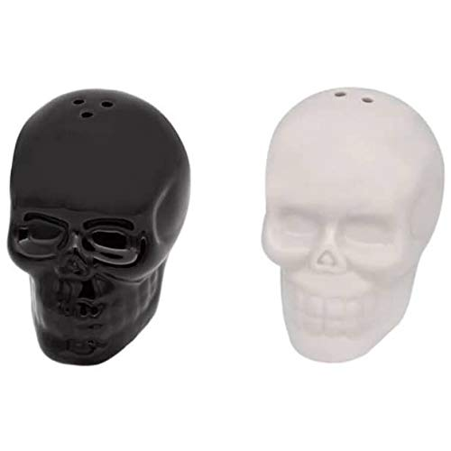 Skull Salt and Pepper Set of 2 Black and White Shakers Ceramic Spice Holder Gothic Kitchen Accessories Halloween Gifts Skull Wedding Favors Day of the Dead Table Decor