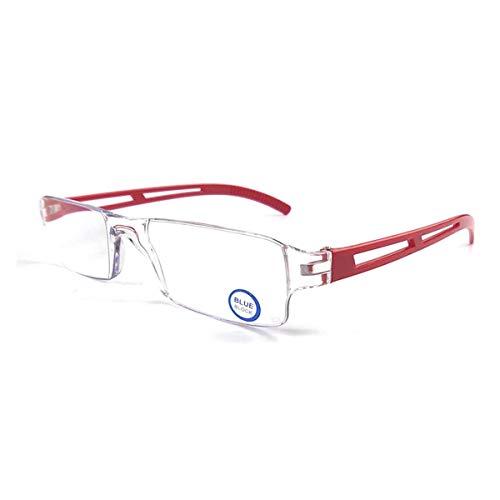 Rahmenlose Lesebrille Sehhilfe mit Blaulichtflilter Anti Blaulicht Lesehilfe für Damen und Herren(Rot,+2.0)