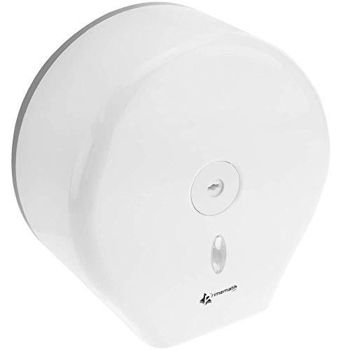 PrimeMatik - Dispensador de Papel higiénico. Portarrollos Industrial Blanco para baño 268x130x280mm