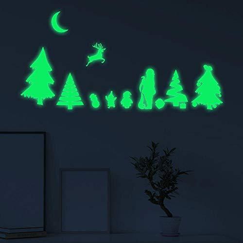 Onlymygod Pegatina fluorescente de Papá Noel tallada para decoración del hogar, 54 x 59 cm