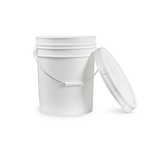 5 Gallon Janitorial White Bucket with LId - Durable 90 Mil All Purpose Sanitation Supplies Pail - Multi-Purpose Industrial Buckets (Pack of 1)