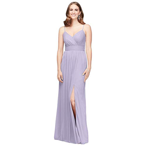 David's Bridal Spaghetti Strap Ruched Waist Mesh Bridesmaid Dress Style F19944, Iris, 8