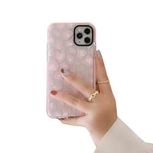 HHZY Funda Mate para iPhone 12/12 Pro/12 Pro MAX Carcasa de Patrón de Leopardo Transparente con Tarjeta de Brillo Suave TPU Antichoque Bling Anti Arañazos Back Cover,Rosado,7/8