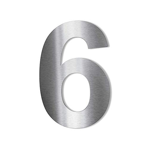 Metzler Edelstahl Hausnummer – modernes Design – wetterfest & pflegeleicht - Schrift Arial – Steckdübel - Höhe 14 cm - Ziffer 6