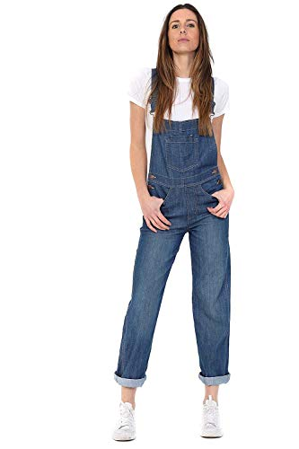 Uskees Damen Jeanslatzhose - Lightwash Denim Dungarees Latzjeans Overalls WOM88LIGHT, Blau, EU 44